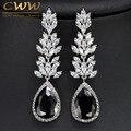 CWWZircons Brand High Quality White Gold Plated Long Black Crystal Drop Earring Fashion Cubic Zirconia Women Jewelry CZ382
