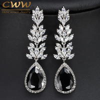CWWZircons Brand High Quality White Gold Plated Long Black Crystal Drop Earring Fashion Cubic Zirconia Women