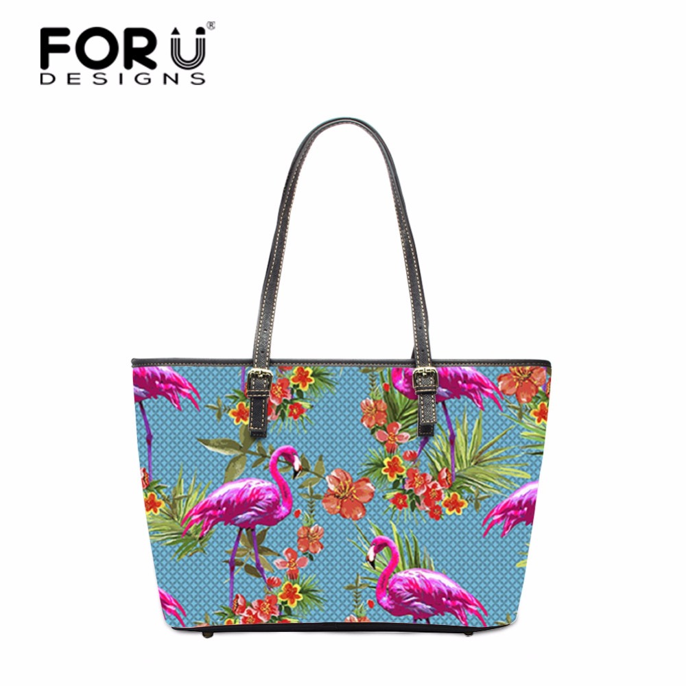 FORUDESIGNS Flamingo Pattern Unicorn Women Casual Beach Bags Daily Use Female Single Shoulder Bags For Shopping Casual Handbag flamingo pattern round beach throw