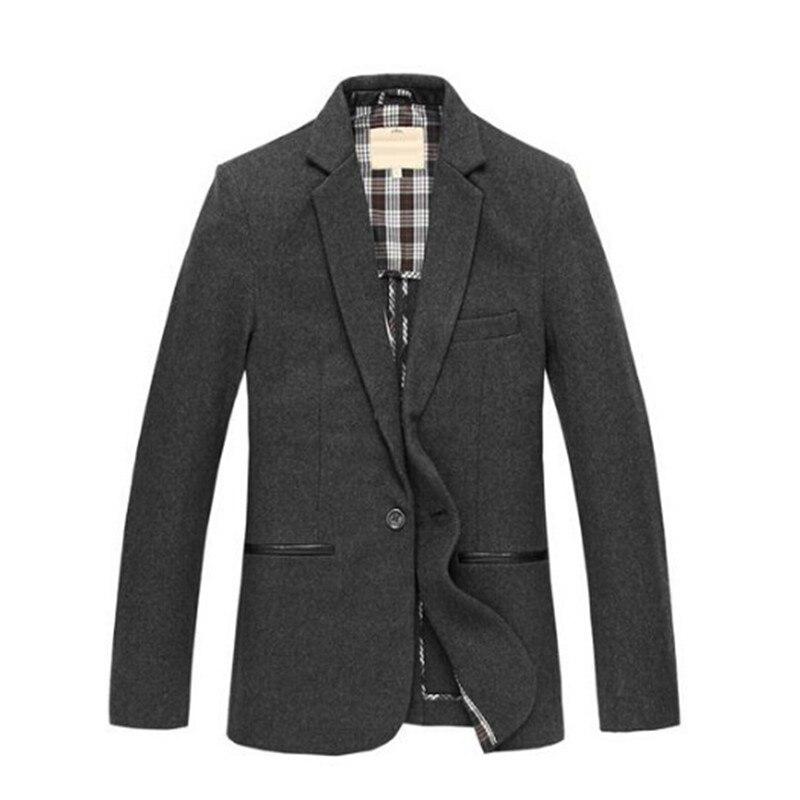 Осень Деловых Мужская ИСКУССТВЕННАЯ Кожа Колено Патч Шерстяной Тонкий One Button Blazer, пальто Для Человека, мужской Осень 4xl 5XL Пиджаки