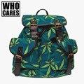 FOLHA de PLANTAS DANINHAS Impressão mochilas mochila de Couro mochila saco um dos saco de escola mochilas para meninas 2016 novo who cares vintage sacos