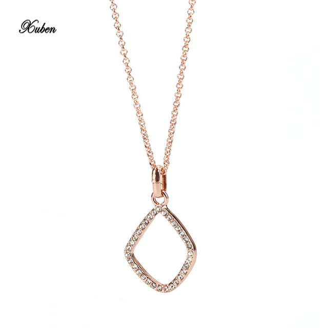 Aliexpress buy xuben new simple fashion square charms pendant xuben new simple fashion square charms pendant necklace ol style chain silver rose gold color aloadofball Images