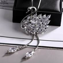Rhinestone Opals Swans Pendant Ladies Fashion Cute Swan Necklace 2018 Fashion Girls Sweater Long Necklace For Women Jewelry(China)