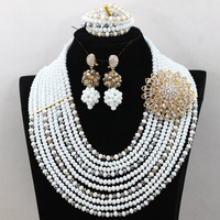 Beautiful White African Wedding Bridal Jewelry Set Nigerian Crystal Beaded Necklace Set Gold Set Free Shipping QW688