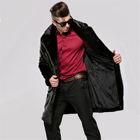 Faux Leather Coats Suede Men Hooded Mens Fur Coats Synthetic Mink Pelts Male Long Leather Trench