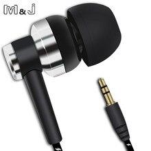 M & j j10 mp3 mp4 fiação subwoofer fone de ouvido orelha trançada corda fio pano corda earplug isolamento ruído fone de ouvido handfree