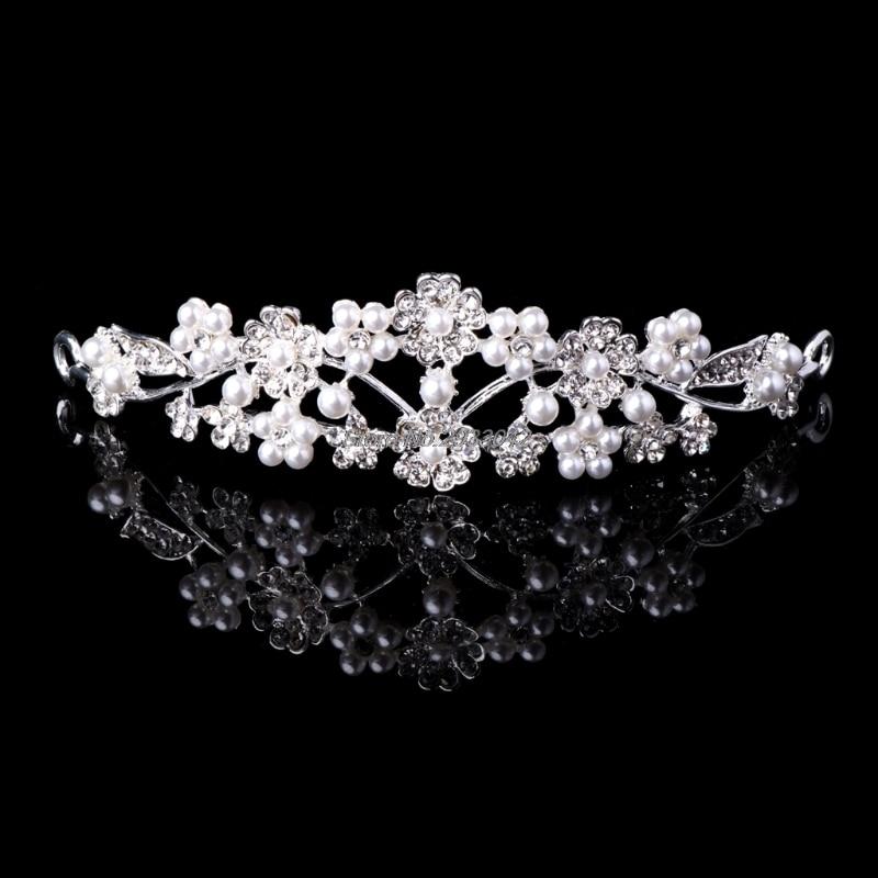 Rhinestone Faux Pearl Flower Wedding Tiara Headband Bridal Crown Prom Headpieces