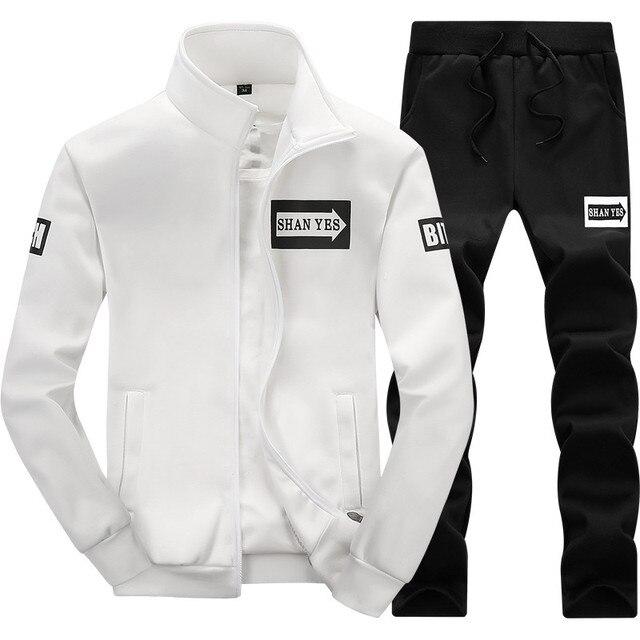 Mannen Set Kleding Katoen Casual Sportswear Trainingspakken Sweatshirt Sets Sportscholen Hoodies + Broek Sets Hombre Herfst Winter Fleece 2 stks