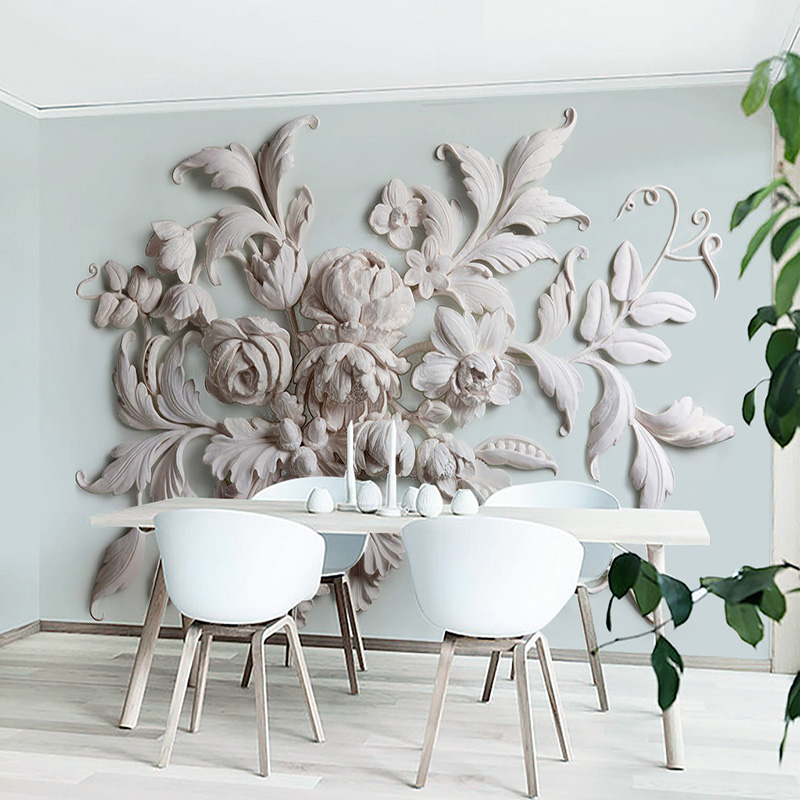 High Quality Modern 3D Wallpaper European Style Stereo Relief Leaf Photo Mural Wallpaper Dining Room Hotel Bedroom Design Fresco