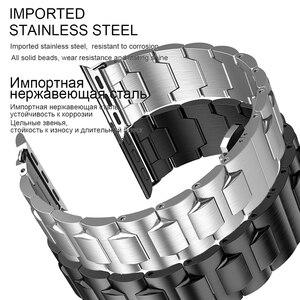 Image 3 - HOCO נירוסטה רצועת עבור אפל שעון סדרת 6 5 4 3 2 1 להקת מתכת פרפר אבזם צמיד עבור iWatch SE 42/44/38/40mm