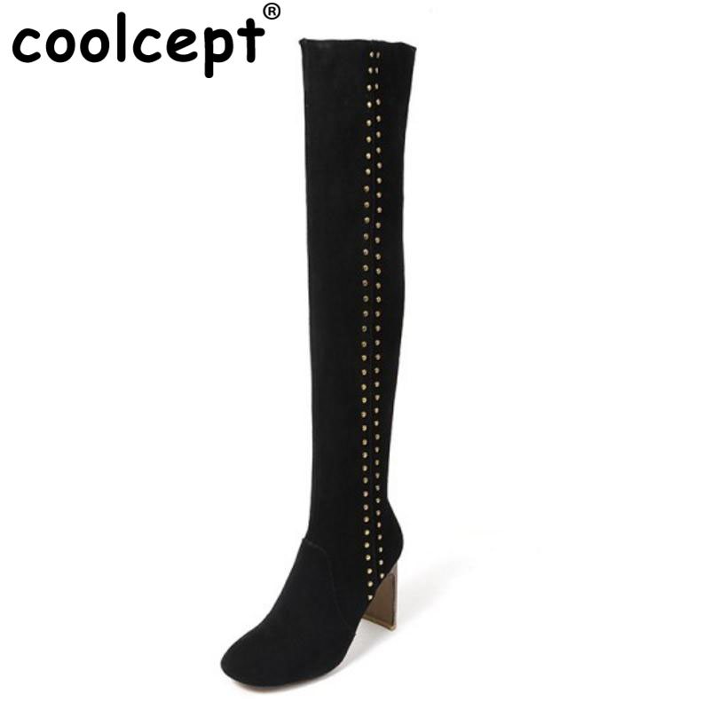 Coolcept Fashion Winter Real Leather Boots Women Thick High Heel Over Knee Long Boots Women Rivets Warm Fur Shoes Size 34-39 pritivimin fn81 winter warm women real wool fur lined shoes ladies genuine leather high boot girl fashion over the knee boots