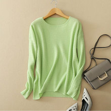 2017 New 4 Colors Cashmere Women's Green Sweater O-neck Long Sleeve Womens Orange Sweater Autumn Sweater Women Clothing