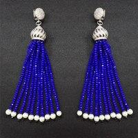 Boho Baroque White CZ Zircon Crown Charms Long Dangle Dark Blue Black Beaded Thick Tassel Earrings