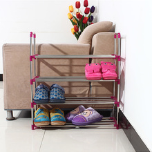 Cheap stainless steel shoe rack assembled multilayer hostel simple racks creative home living room