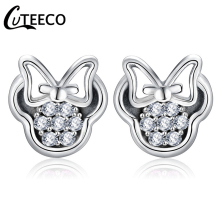 CUTEECO Silver Color Earring Mickey Shape Sparkling Minnie Brand Stud Earrings Fashion Jewelry boucle doreille femme 2019
