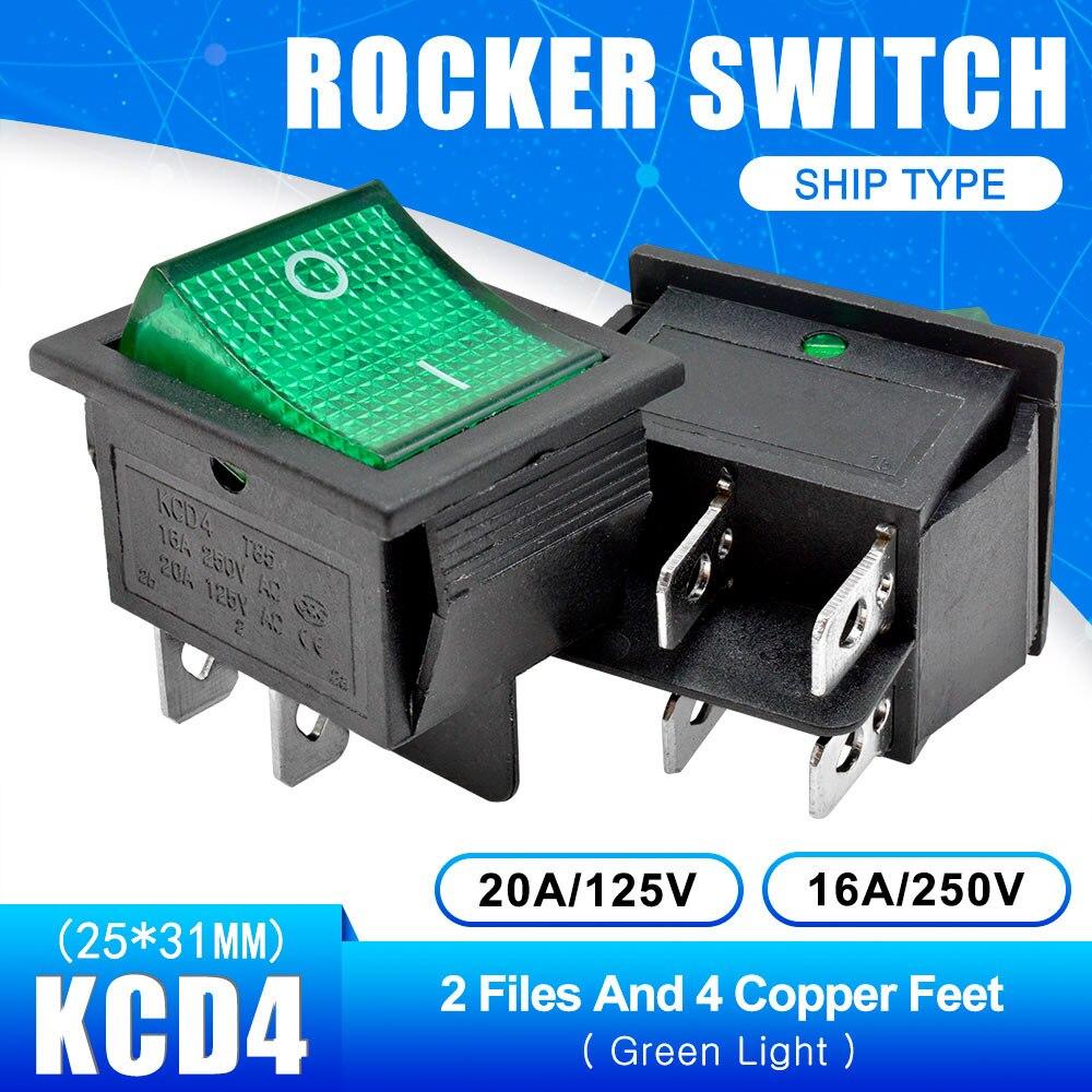 KCD4 Кулисный Переключатель Кнопка ВКЛ/ВЫКЛ 2 Позиции 4 штырей, 6pins, электротехническое оборудование с светильник Мощность переключатель 16A 250VAC AC 250V - Цвет: Green with Light