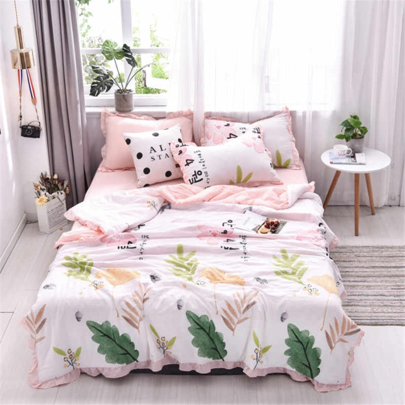 4Pcs Quality Luxury Version Summer Thin Quilt  King Size Pineapple Print  Air Conditioning Cool Quilt Sets For Home  Travel
