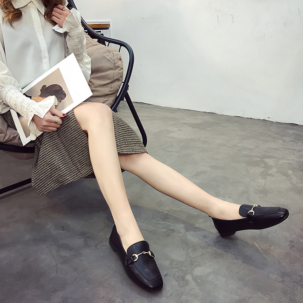 PU Leather Ladies Students Shallow Mouth Leisure Single Shoes Solid Color Casual Non-Slip Comfortable Flat Shoes