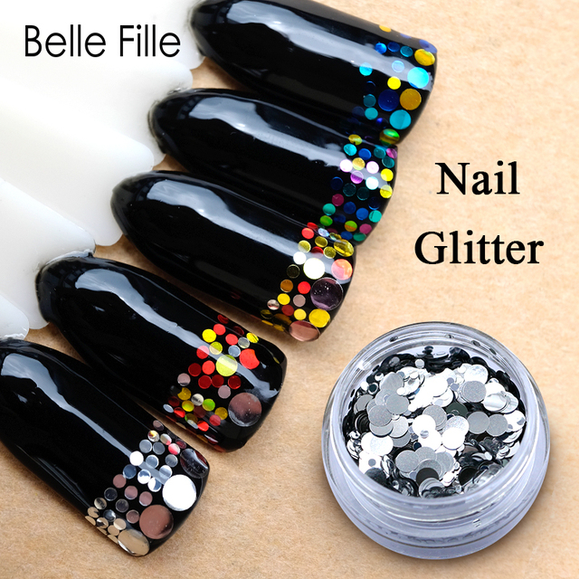 Belle Fille Nail Glitter Round Shape Colors Laser Magic Effect Nail Glitter Silver and Gold Power Nail Flakes Decorations1g