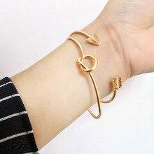 aiboduo Womens Open Bangles Fashion Arrow Bracelet Women Knotted Set Couple Vintage Temperament Jewelry B00035
