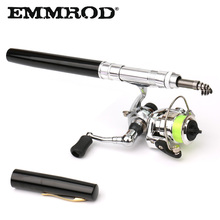 EMMROD New Spinning Pen Fishing Rod Mini Moveable shortness Fishing Rod With a steel wheel Present packaging Kids's items  XH1