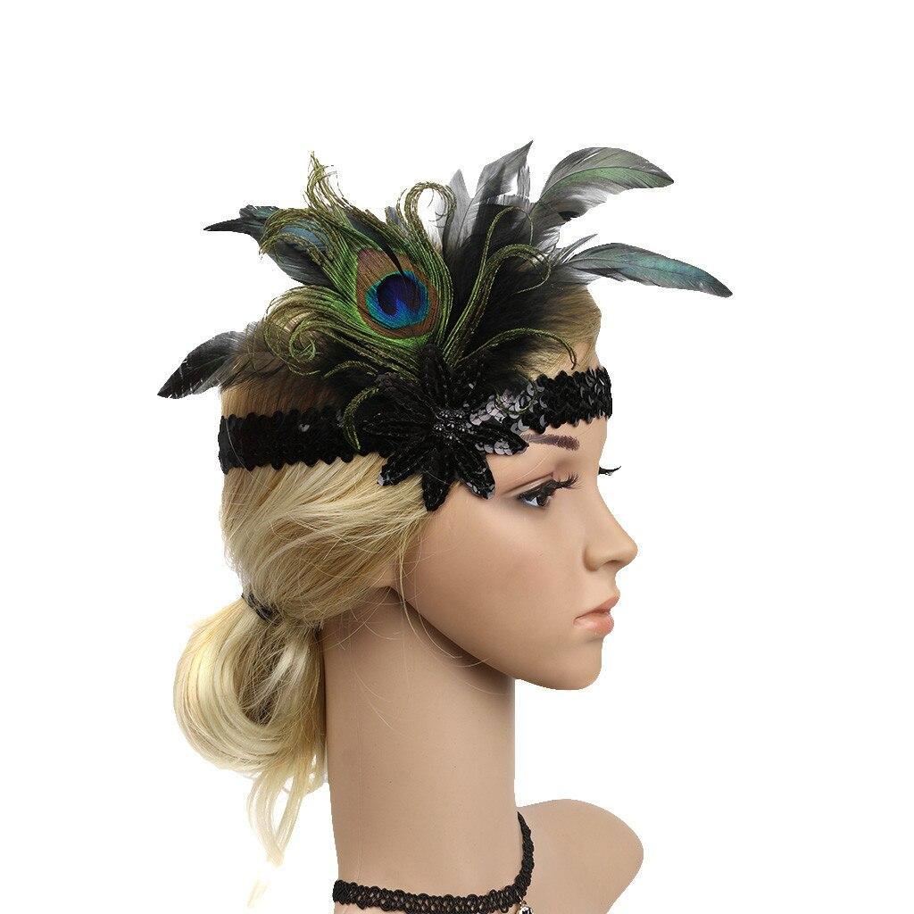 1920s Flapper Headpiece Roaring Flapper Feather Headband  20s Great Gatsby Headband Black Feather Crystal Beaded Headpiece headpiece