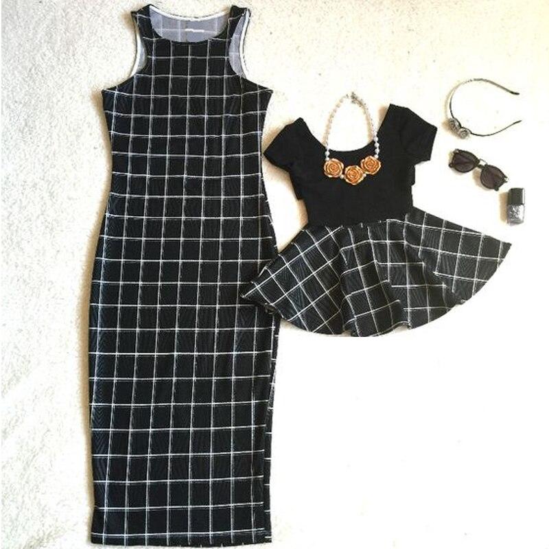 Лидер продаж платье для мамы и дочки Летние черные в клетку Танк платье длиной до колен классический жилет платья без рукавов Новый AF-1802 ...