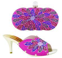 ME3320 Neue Ankunft hochwertige passenden italienischen schuh und tasche set, Afrikanische Dame high heels, match frauen kleid mit fuchsia rosa