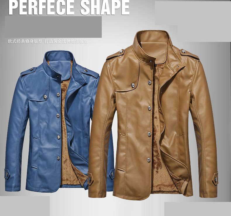 Aliexpress.com : Buy Winter warm motorcycle Leather Jacket Men ...