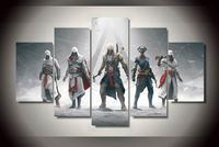 Oprawione 5 Sztuka Drukowane Gry Assassins Creed Obraz Olejny Numerów Sztuki Ścianie Wisi Obraz Mody Do Dekoracji Domu