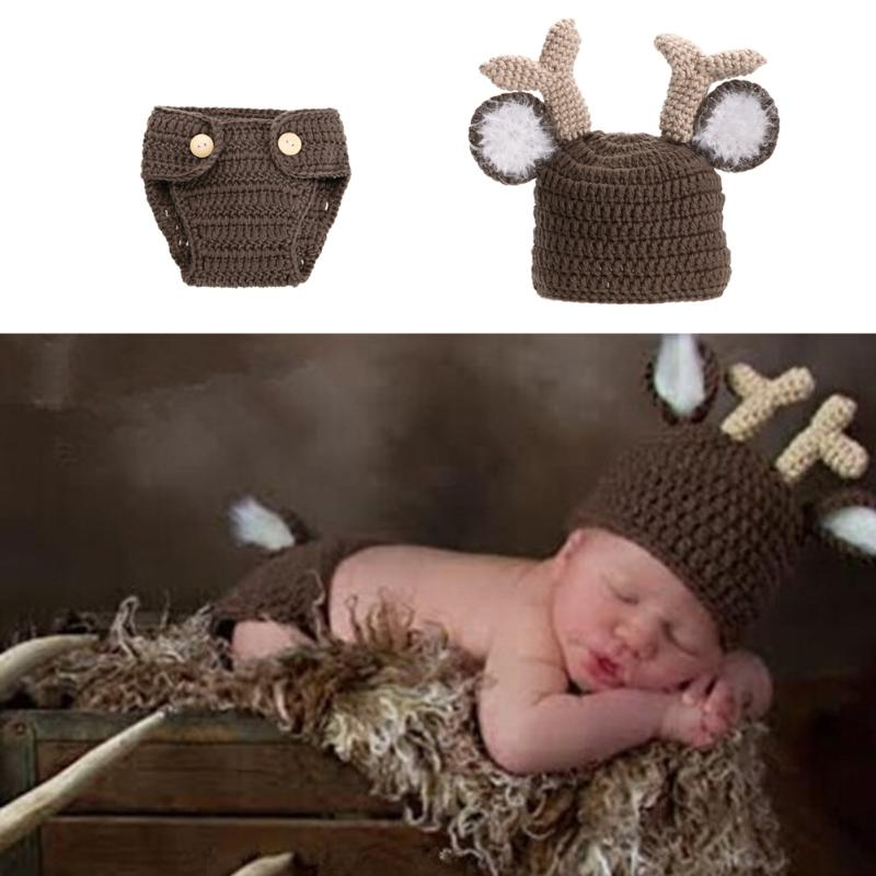 Baby Newborn Photography Props Costume Hand Crochet Knit Infant Beanie Hat And Pants For Boy Girl Outfits Deer