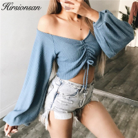 Hirsionsan 2017 Lantern Sleeve Women Top Casual 2 Wearing Methods Pullovers Autumn Sexy Off Shoulder Crop