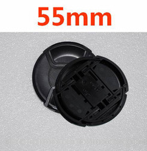 30pcs/lot  55mm center pinch Snap on cap cover LOGO for nikon 55mm camera Lens