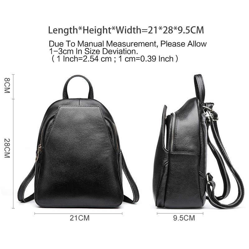 Zency 100% женский рюкзак из натуральной кожи Модный серый простой женский Школьный Рюкзак Повседневная Женская дорожная сумка Повседневный ранец черный