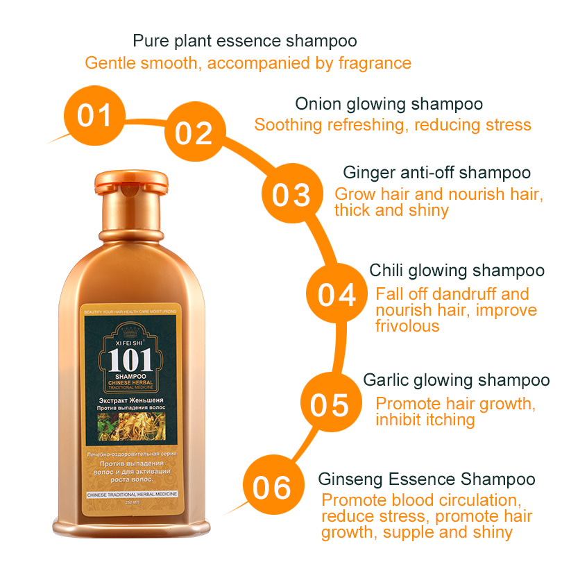 Купить с кэшбэком New professional hair care 101 ginseng ginger plant extract shampoo, anti-hair loss moisturizing oil control make hair grow fast