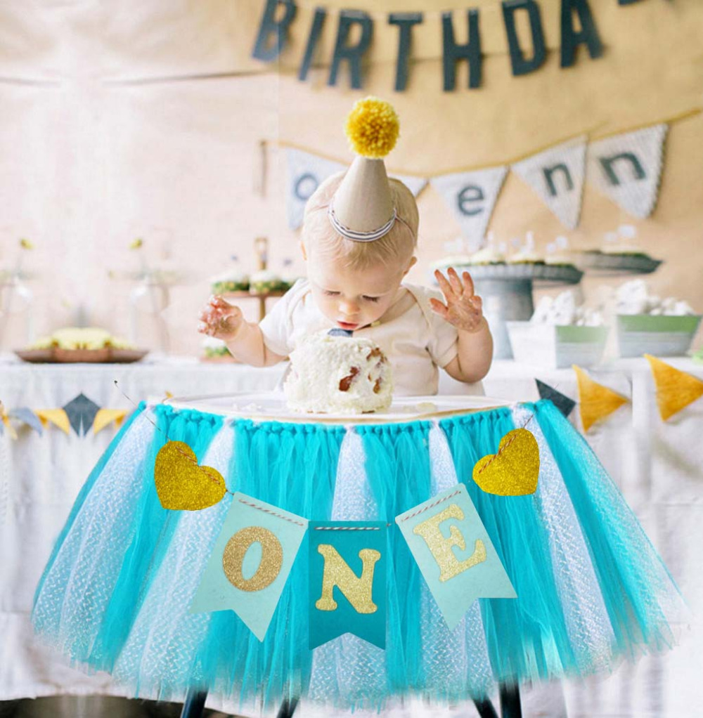 Galabeme 1set ONE Banner and Tulle baby chair skirt boy Baby Shower ...