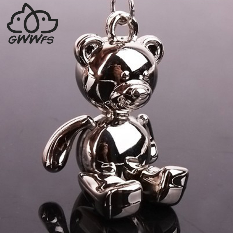 Gwwfs Teddy Bear Pendant Key Chains For Women Men White Gold Color Metal Alloy Bag Charm Car Keychain Key Ring Holder Gift image