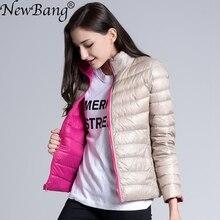 NewBang מותג למטה מעיל נשים קל במיוחד למטה מעיל נשים נוצת כפול צד רוח הפיך קל משקל מעיל פארקים