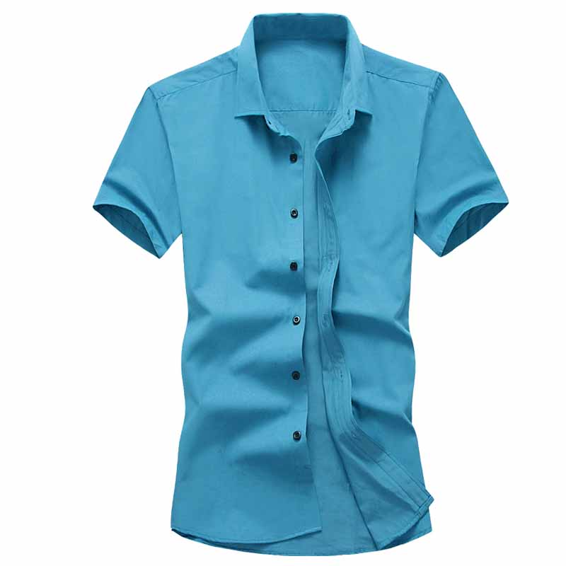 Office Solid Color Short  Sleeves Shirts For Men Dress Plus Breathes Cool Shirts  Pure Cotton Slim Fit  Short Sleeve Casual Busi