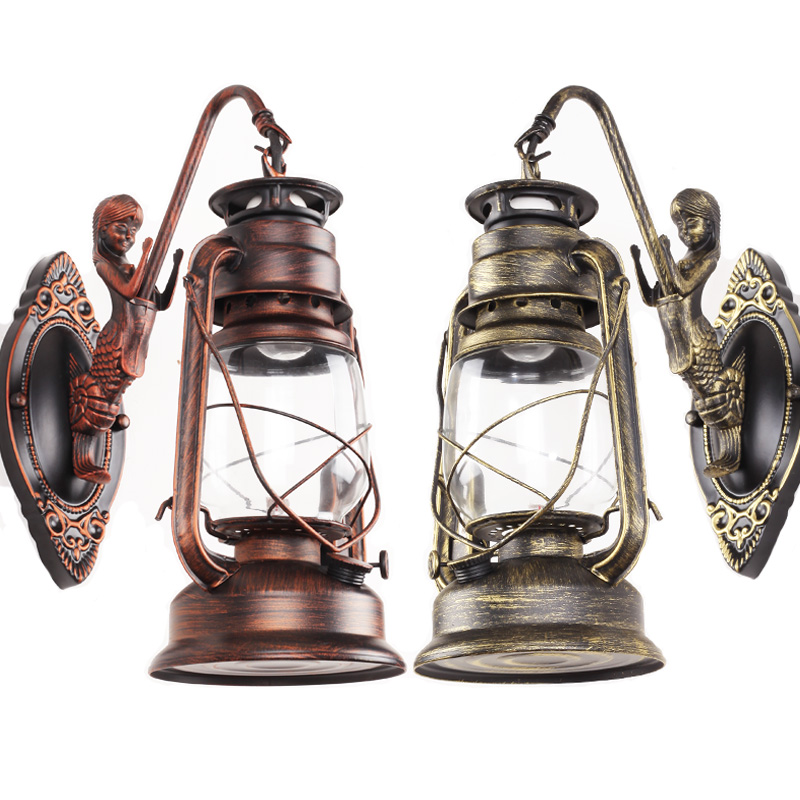 Retro nostalgia antique lantern kerosene industrial wind Cafe Restaurant Outdoor Waterproof creative LED Wall Lamps thermacell outdoor lantern где в челябинске