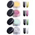 High Quality 12 Boxes Magic Mirror Chrome Effect Dust Shimmer Nail Art Powder 12 Colors + 12 Brushes