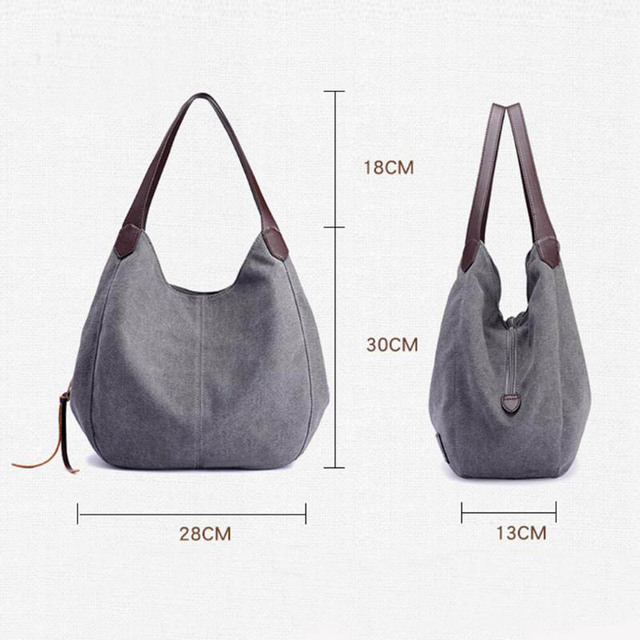 Women's Canvas Handbags High Quality Female Hobos Single Shoulder Bags Vintage Solid Multi-pocket Ladies Totes Bolsas 3