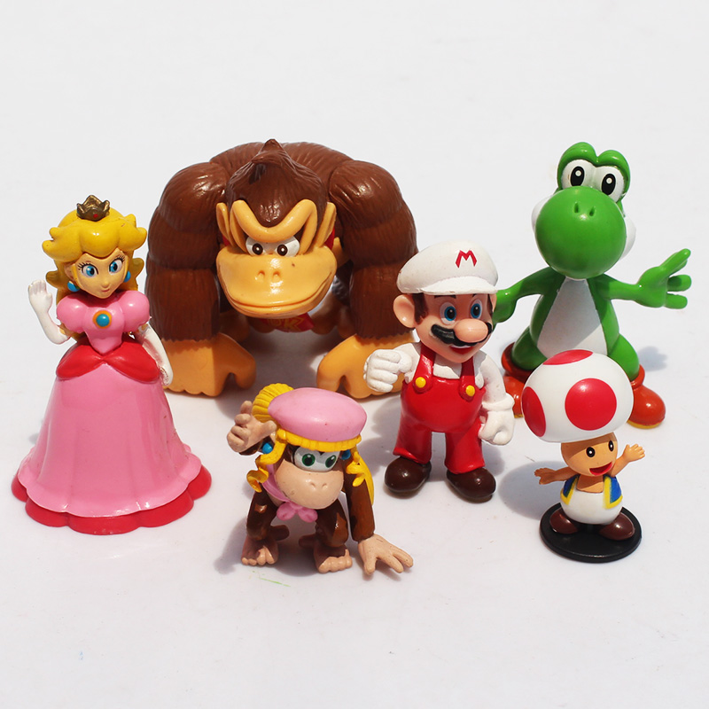 Super Mario Playing Team Band Collection 4-6cm Toys Mario Luigi Donkey Kong Toad Yoshi Peach PVC Figure Toys With Box 1