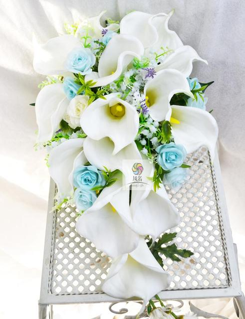 cd99b8675c13f US $55.9 14% OFF|Handmade Flower Wedding Supplies Bridal Bridesmaid Bouquet  Artificial Calla Lily Flowers Waterfall Style Bride Holding Bouquets-in ...