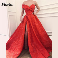 2018 African Split Sexy Evening Dresses Muslim Arabic Robe de soiree Off Shoulder Prom Dress Moroccan Kaftans Formal Party Gowns