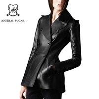 Черные женские кожаная куртка пальто овчины Натуральная кожа мотоциклетные одежда ПР Стройная женщина юбка маятник дизайн куртка