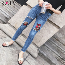 RZIV 2017 ripped denims for girls and feminine informal stable shade internet yarn flower embroidery stitching holes in denims skinny denims