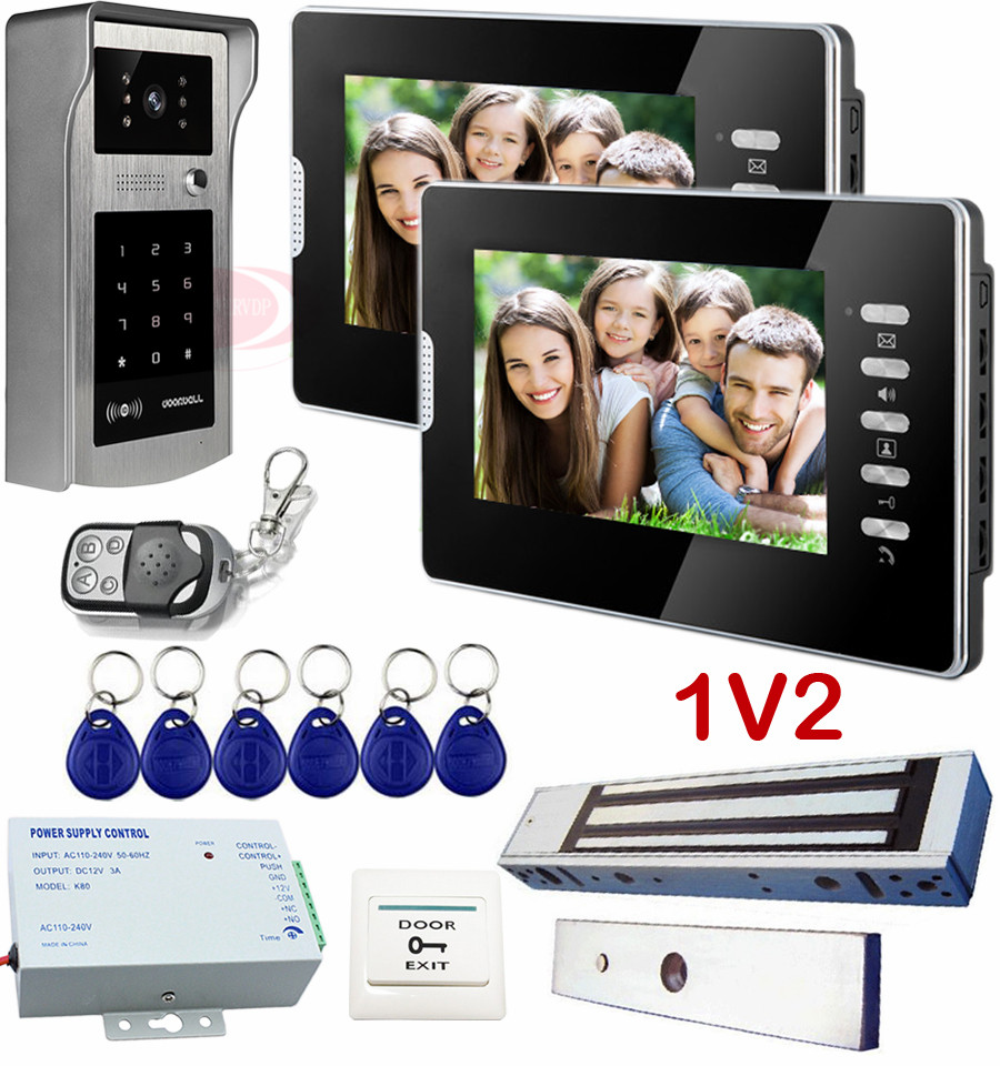 все цены на  Video Intercom With 2 Screens 7 inches Video Door Phone With Intercom Ip55 Waterproof 700TVL sony With Electric Magnetic Lock  онлайн