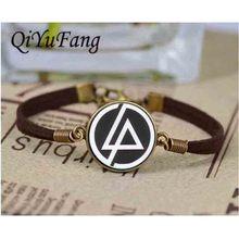 Handmade Fashion Linkin Park logo bracelet Jewelry leather Glass Dome bracelets 1pcs/lot best friends gift steampunk 2017 charms