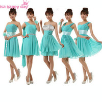 2018 green brides maids bridesmaid sweet 16 princess short sweetheart neckline sequined turquoise dresses for weddings B1656